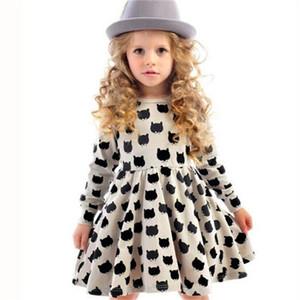 Girl dress cotton long sleeve black stamp elastic pleated Zou comfortable dress stitching girl dress Cartoon cat print