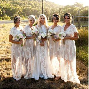 2019Verão Bohemian Sheer Lace Vestidos Dama de honra V Neck mangas curtas Plus Size Boho vestidos de casamento Custom Made Bridesmaids vestidos
