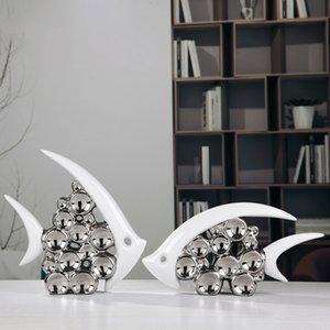Bouble Пара Поцелуй Рыбы ВАЗа Современная Керамическая Мебель Статьи Для Гостиной Украшения Дома Серебряный Пузырь