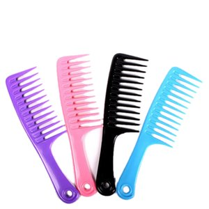 Wholesale- 1 Pcs 23.8CM Plastic Wide Tooth Hair Combs Hairstyle Handgrip Barber Hairdressing Haircut Styling Tools Color Random