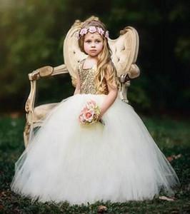 2017 Золото И Белый Пухлые Бальное Платье Малыша Маленькие Девочки Театрализованное Платья Блестками Тюль Цветок Девушки Платье