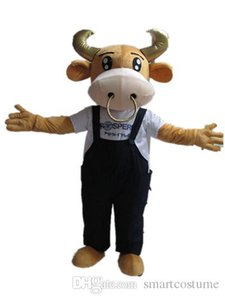 SX0724 un disfraz de mascota de ganado con cuerno de oro con un pantalón de liga negro para que los adultos usen