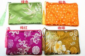 Borla de artesanía gruesas bolsas zip para joyería del recorrido del almacenaje pulsera bolsa del bolso del collar de seda del brocado del teléfono móvil del monedero de embalaje floral