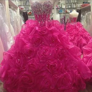 Fuşya Sevgiliye Straplez Boncuklu Korse Prenses Balo Quinceanera Elbiseler Rozet Etek Tatlı 16 Elbise vestidos 15 Vintage