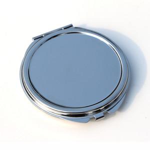 Boş Yuvarlak ince Kompakt Ayna Gümüş Metal Cep makyaj aynası Vaka Favor Promosyon Hediye # 18032-1