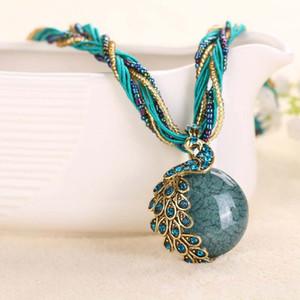 2017 Новый павлин украшение грубое ожерелье с короткой ключицей женская цепь драгоценный камень ожерелье стиль летние украшения