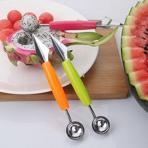 Venda por atacado - Venda quente 2 em 1 Dual Head Fruit Melão Ice Cream Scoop Colher Ball Baller Carving Knife