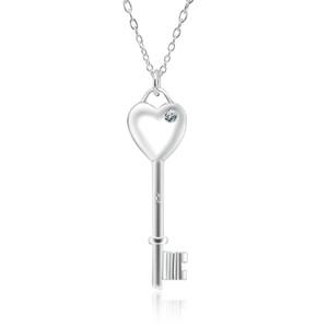 Colar de Prata Moda Key Colar pequena fábrica de atacado e varejo 925 corrente de prata fina Bu coração broca