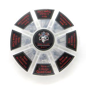 8 in 1 Spule Kit Flache Twisted-Coil-Clapton-Spulen für RBA RDA 48pcs Quad / Band Twist / Tank Track / Clapton / Hive HJ036
