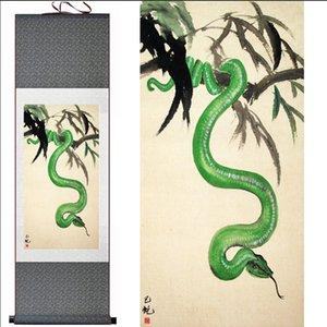 1 Parça Yeşil Yılan Ev Ofis Dekorasyon Çin Kaydırma İpek Duvar Sanat Poster Oturma Odası Için Resim Boyama