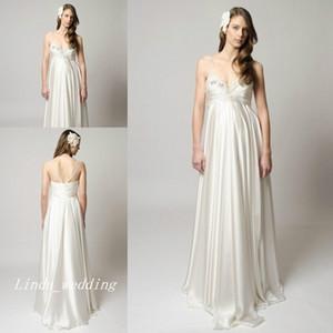 Nuevos vestidos de boda de la cintura del imperio de maternidad Vestidos de fiesta nupciales formales largos y elegantes de la princesa de alta calidad
