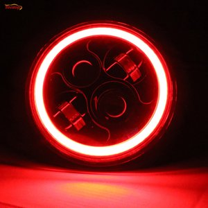 7 pollici 30 / 40W LED Headlight Con Rosso Blu Verde Halo Per Jeep Wrangler JK Harley Hummer Defender FJ