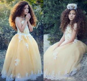 Abiti da spettacolo per ragazze giallo chiaro Perline con collo trasparente Appliques di pizzo Abiti da ragazza di fiori per matrimoni Tulle Abito da festa formale per bambini