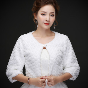 Real photos White Faux Fur Wedding Jacket Warm Bridal Bolero Wedding Jacket Coat with half sleeve Bridal Wraps Wedding Cape Cloak
