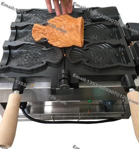 Frete Grátis Comercial NonStick 110 v 220 v Elétrica 3 pcs Big Mouth Waffle Ice Cream Taiyaki Maker Makchine Padeiro De Ferro Mould Peixe Grill