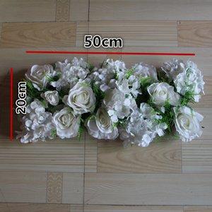 Nova simulação de seda branca rosa Hortênsia flor grama decorações de mesa de casamento, estrada do casamento flores de chumbo, casamento arco flores