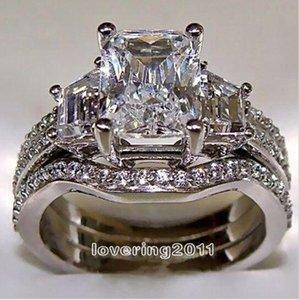 5-11 Frete grátis Moda jóias princesa corte 10kt ouro branco cheio GF topázio branco CZ Simulado Diamante Casamento Senhora mulheres anel set