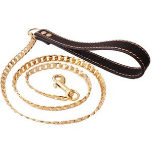 12mm 128 cm tom de ouro de aço Inoxidável Dog Slip Collar Cubano Cadeia Dog Training Choke Collar Tracção Forte Colar de Corrente Prático