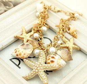 Starfish-Charme-Armbänder Muschel Seestern Shell-Armband Conch Pearl Gold überzogene Seestern Muschel Conch Perlen-Armband-Weihnachtsgeschenk