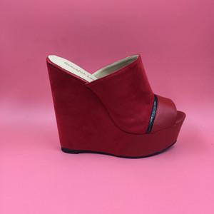 Kırmızı Süet Kadın Sandalet Kama Terlik Platformu Burnu açık Kadın Ayakkabı Slaytlar Takozlar Ayakkabı Bayanlar Fermuar Dekore Açık Topuk Nubuk Deri 2016