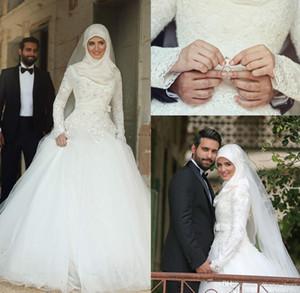 Arabisch Dubai Muslim Brautkleider 2016 Saudi Arabisch Bescheidenen High Neck Hijab Brautkleid Mit Langen Ärmeln Spitze Applique Perlen Brautkleider
