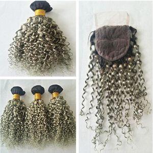 Cabello humano Ombre de dos tonos 1B / gris oscuro con cierre 4Pcs Lot Sliver Grey Ombre Paquetes de cabello rizado profundo con cierres de encaje