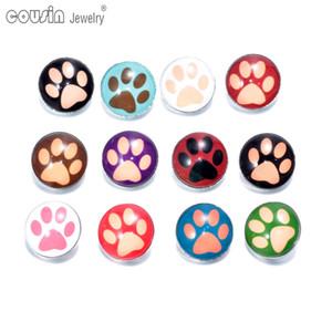 12 pçs / lote cores misturadas botão de pegada 18 mm snap botão jóias vidro facetado Snaps Fit snap botão pulseira jóias KZ0079 fazendo jóias