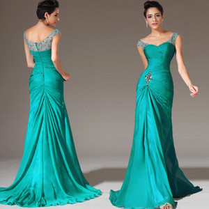 2021 Sexy Mermaid Chiffon Prom Dresses Illusion Neck Beaded Sweep Train Formal Plus Size Party Dress Ruffles Cheap Evening Dresses
