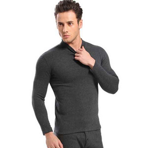 매우 따뜻한 2 조각 Mens Soft Add Wool 속옷 세트 따뜻한 겨울 높은 칼라 열 속옷 캐시미어 스포츠 Thermals Polartec Long Johns