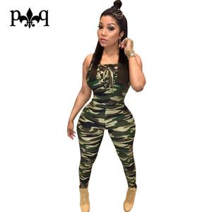 Gros-Camouflage Barboteuses Femmes Combinaison Sexy Bandage À Lacets Combinaisons D'été Nouvelle Mode Armée-vert Bodycon Jumpsuit Femmes Salopettes