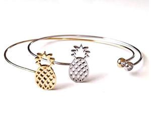 Moda plata de los accesorios de cobre y oro negro de alta calidad de diamantes de imitación de piña hueco joya de alambre pulseras brazaletes de puño encanto para mujeres hombres