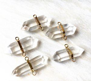 Pendenti del pendente del connettore del quarzo di cristallo di rocca con doppia barra, pendente del quarzo di Druzy del quarzo dell'oro per la fabbricazione dei monili della collana