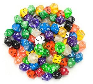 10 Dice Bosons 10 Face 0-9 Polyhedral Dice Multicor Pequeno Presente Jogo Dice Bom Preço de Alta Qualidade # P8
