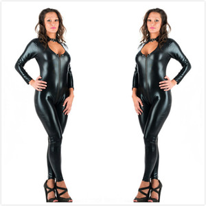5XL Plus Size Sexy Novità Donne Nero Ecopelle Latex Catsuit Cerniera Tuta anteriore Fancy Dress Fetish Body erotico PU