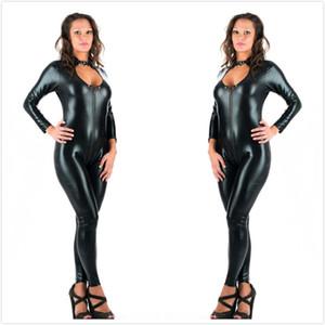 5XL Tallas grandes Sexy Novedad Mujeres Negro Faux Leather Latex Catsuit Cremallera Mono delantero Vestido de lujo Fetish Erotic body suit PU