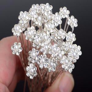 100 Adet Moda Düğün Gelin İnci Çiçek Temizle Kristal Rhinestone Saç Pins Klipler Nedime Hairwear Takı Saç Aksesuarları