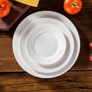 """Óssea china placas planas western-food placa pura branco osso china placas forma redonda 6 """"8"""" 10 """"3 tamanhos porcelana pratos lisos presente de luxo"""