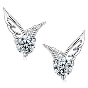 Factoy sale 120pairs lot Angel Wings Earring Cubic Zirconia Women Party Stud Earring white gold plated Casual Crystal Retro fashion Earrings