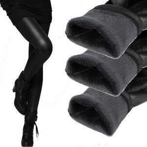 Caldo Leggings invernali Ispessimento Leggings in pelle nera Pantaloni skinny Pantaloni da donna caldi Pantaloni per donna Alta qualità