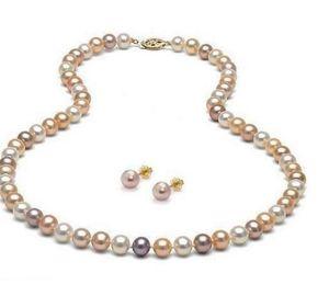 8-9mm Weiß Rosa Lila Multicolor Natürliche Südsee Perlenkette 20 inch + Ohrring Set 14 Karat Gold