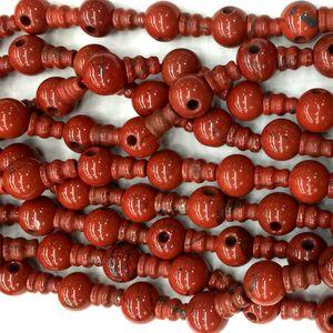 Alta Qualidade Natural Genuine Red Jasper Pagode Tee Buddha Cabeça Tibet Guru Beads Fit Jóias DIY Colares (10 Miçangas / lote) 04219