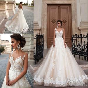 2017 New Arrival Sheer Neck Vestidos de Casamento Lace Applique A Linha de Tule Praia Vestidos De Casamento Formal Vestidos Custom Made Barato robe de mariée um