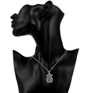forma venda das mulheres quentes pequeno urso oco pingente de prata colar colar banhado STSN770, moda prata 925 colar de presente de Natal
