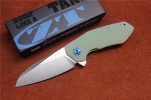 Envío libre, cuchillo plegable de alta calidad ZT0095, hoja: D2 (mancha), manejar Jade G10, herramientas de mano al aire libre que acampan que cazan, venta al por mayor, regalos