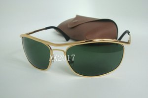 1Pair High Quality Sports Sunglasses For Men Sun Glasses Gold Frame Green 62mm Glass Lenses With Brown Case