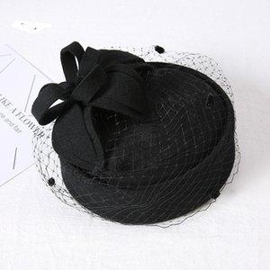 2018 السيدات أنيقة جديدة زهرة القلب فيدورا القبعة للنساء الكنائس DOT الحجاب الزفاف قبعة من الصوف الخالص قبعات خريف وشتاء القبعات