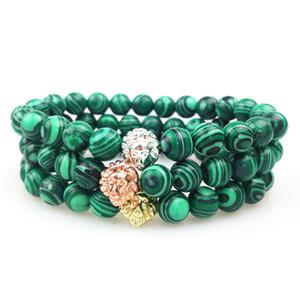 SN0354 Comercio al por mayor Oro Rosa Oro Plateado Lion Head Bead Bracelet 8mm malachite Bead Bracelet Mujeres Hombres Pulsera Elástica