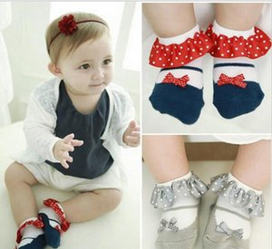 Nuevo Sweet Toddler Baby Socks Girl Slippers Dots Princess Lace Soft Cotton Calcetines cortos HJIA787