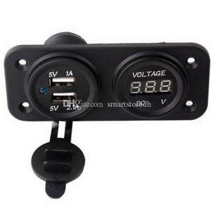 Dual USB 3.1A Charger + Voltmeter Panel Mount Marine 12V Salida de moto M00023 SPDH