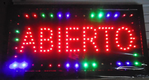 hot sale manufacture open sign 10x19 Inch Semi-outdoor Ultra Bright Abierto running electronica lighted sign Wholesale